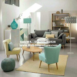 Kursi Sofa Scandinavian Meja Oval
