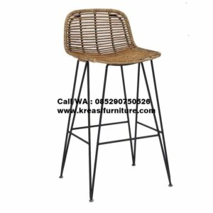 Bar Stool Rotan Industrial Natural