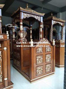 Mimbar Masjid Ukir Kubah Kayu Jati
