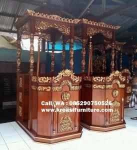 Mimbar Masjid Ukir Emas Kaligrafi Terlaris