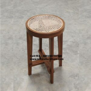 Stool Bar Jati Bundar Rotan Alami