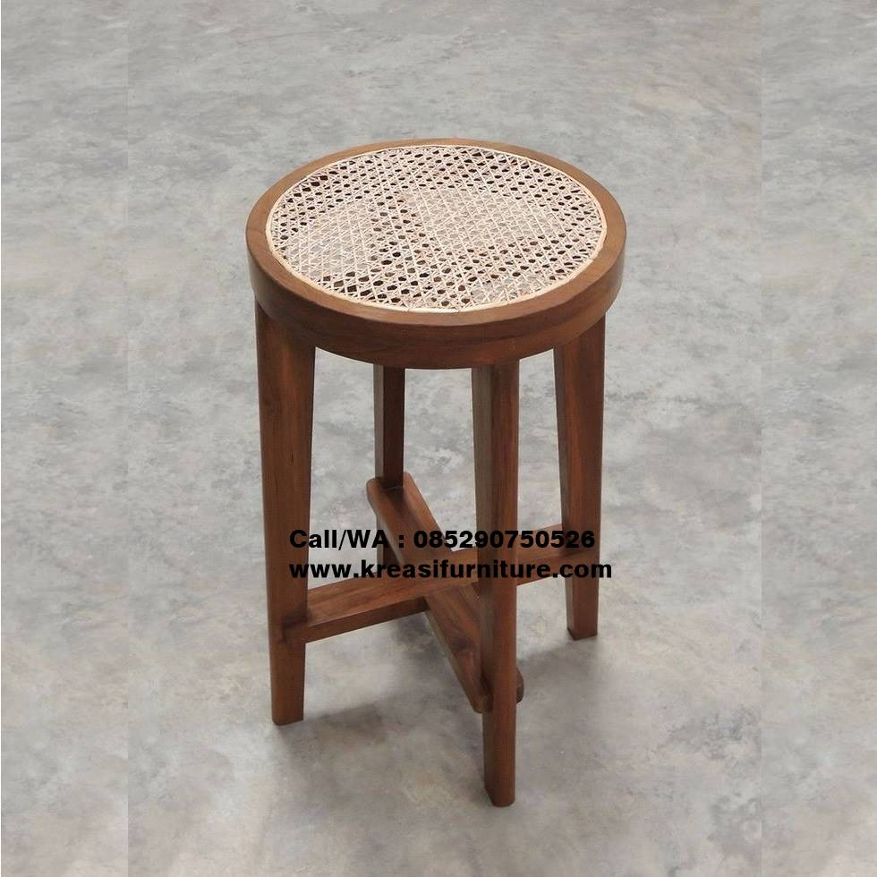Stool Bar Jati Bundar Rotan